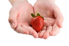 Strawberry In Hands Royalty Free Stock Photos
