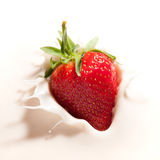 Strawberry In Yogurt Royalty Free Stock Photo