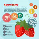 Strawberry infographics and vitamins infographics in flat style Royalty Free Stock Photos