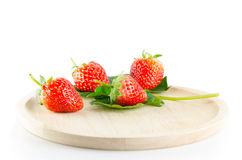 Strawberry isolated. And fresh, sweet on white and gray background royalty free stock photos