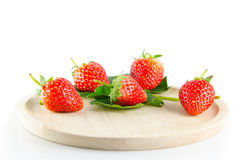 Strawberry isolated. And fresh, sweet on white and gray background royalty free stock images