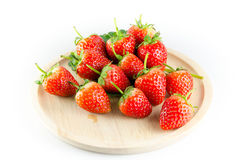 Strawberry isolated. And fresh, sweet on white and gray background royalty free stock photography