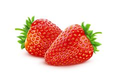 Strawberry isolated on white background with clipping path. Two whole strawberries stock photos