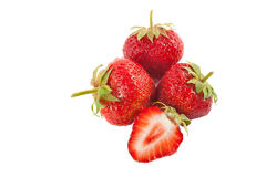 Strawberry isolated on white background. Ripe red strawberries closeup isolated on white background Stock Photos