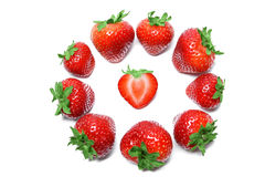 Strawberry isolated on white background top view Stock Photos