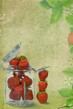 Strawberry Jam. Ripe strawberries in glass jar on textured background Royalty Free Stock Images