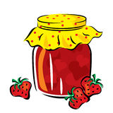 Strawberry jam. Vector image of strawberry jam in the glass jar Royalty Free Stock Photo
