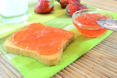 Strawberry jam. Breakfast with a toast with strawberry jam and milk royalty free stock photos