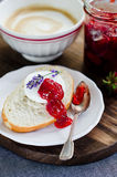 Strawberry jam. With a roll and goat cheese Royalty Free Stock Photos