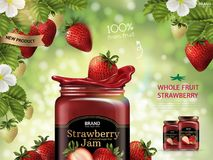 Strawberry jam ads. Fresh fruit dropping down from strawberry plant in 3d illustration isolated on green bokeh background vector illustration