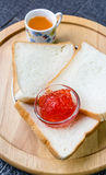 Strawberry jam with bread Royalty Free Stock Photo