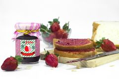 Strawberry Jam & Bread in Breakfast with White Background royalty free stock images