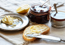 Strawberry jam, bread and butter and tea. Breakfast Royalty Free Stock Photo