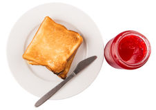 Strawberry Jam And Bread Toast II Royalty Free Stock Photos