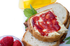 Strawberry jam for breakfast Stock Photos
