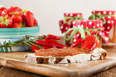 Strawberry jam with chili Royalty Free Stock Image