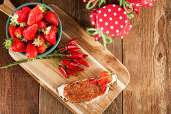 Strawberry jam with chili Stock Photo