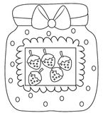 Strawberry jam coloring page Stock Photos