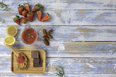 Strawberry jam with dates and banana carrot cake stock photos