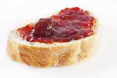 Strawberry Jam on Focaccia Bread Stock Photo