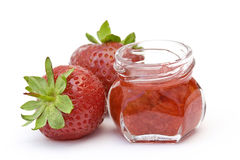 Strawberry jam and fresh strawberries Royalty Free Stock Image