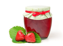 Strawberry Jam with Fresh Strawberries. Homemade Strawberry Jam with Fresh Strawberries on white background Royalty Free Stock Images