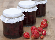 Strawberry jam. In a glass jar Royalty Free Stock Photography