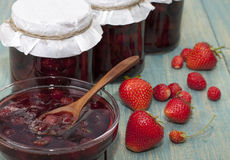 Strawberry jam. In a glass jar Stock Photography