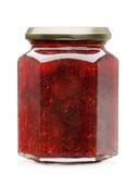 Strawberry jam. Glass jar isolated on white background Stock Image