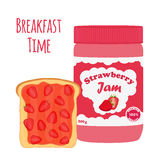 Strawberry jam in glass jar, toast with jelly. Flat style. Stock Images