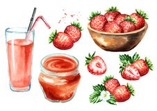 Strawberry jam, glass of juice, bowl with berries, flower and leaves set. Watercolor hand drawn illustration, isolated on white b. Ackground royalty free stock image