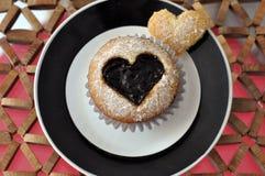 Strawberry Jam Heart Cupcake Stock Photography
