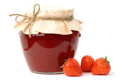 Strawberry jam jar Royalty Free Stock Images