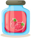 Strawberry jam jar Stock Photos