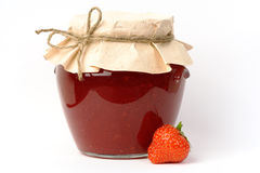 Strawberry jam jar Royalty Free Stock Image