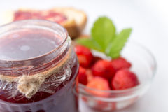 Strawberry jam in a jar Stock Image