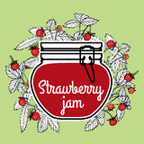 Strawberry jam with a jar and fragaria berries on a green background. Vector illustration Stock Photography