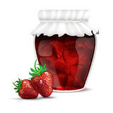 Strawberry jam in a jar and fresh strawberries Royalty Free Stock Images