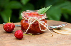 Strawberry jam in a jar Stock Photos
