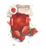 Strawberry jam jar watercolor painting illustration isolated on white background Stock Photo