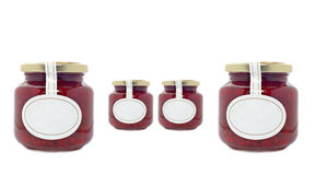 Strawberry jam jars Stock Images