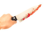 Strawberry jam knife Stock Image
