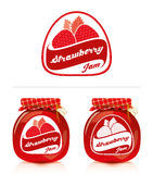 Strawberry jam label with jar. Jar of strawberry jam and designs for the label Stock Photography