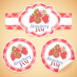 Strawberry jam labels Royalty Free Stock Image
