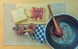 Strawberry jam making Royalty Free Stock Photo