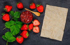 Strawberry Jam marmalade with Copy Space Area Stock Photo