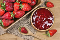 Homemade strawberry jam or marmalade with fresh strawberries in the ...
