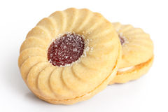 Strawberry jam ring biscuit Royalty Free Stock Photos