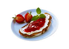 Strawberry jam sandwich Royalty Free Stock Photos