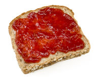 Strawberry jam sandwich isolated on white Stock Photo